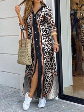 Ericdress Long Sleeve Ankle-Length Asymmetric Mid Waist Asymmetrical Leopard Maxi Dress