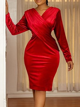 Ericdress Long Sleeve Pleated V-Neck Western Plain Bodycon Dress