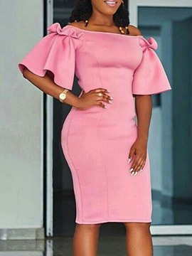 Ericdress Knee-Length Half Sleeve Off Shoulder Plain Pencil Pink Bodycon Dress