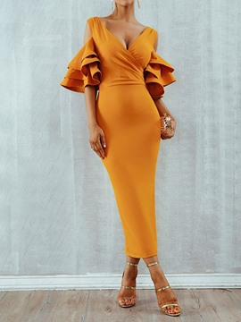 Ericdress Half Sleeve Asymmetric V-Neck Pullover Office Lady Bodycon Dress