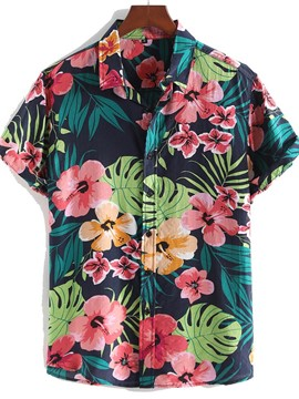 Ericdress Casual Floral Lapel Single-Breasted Men's Print Shirt
