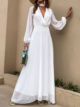 Ericdress Long Sleeve Floor-Length V-Neck High Waist Pullover White Maxi Dress