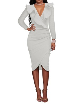 Ericdress V-Neck Patchwork Long Sleeve Pullover Plain Bodycon Dress