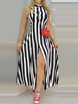Ericdress Button Stand Collar Ankle-Length Single-Breasted Stripe Maxi Dress