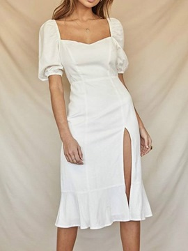 Ericdress Split Mid-Calf Short Sleeve Plain Fashion White Bodycon Dress