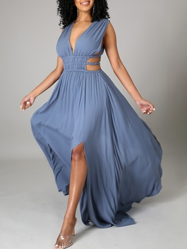 Ericdress V-Neck Floor-Length Split Plain Fashion Maxi Dress
