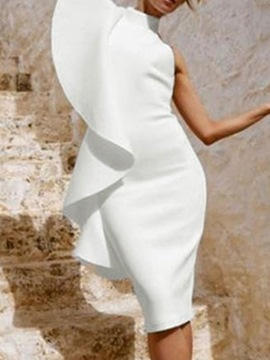 Ericdress Falbala Short Sleeve Knee-Length Plain Bodycon White Dress