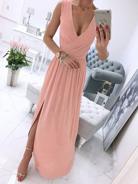 Ericdress Sleeveless Floor-Length Patchwork A-Line Pullover Maxi Dress