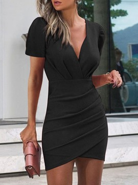 Ericdress Short Sleeve V-Neck Patchwork Asymmetrical Regular Bodycon Dress