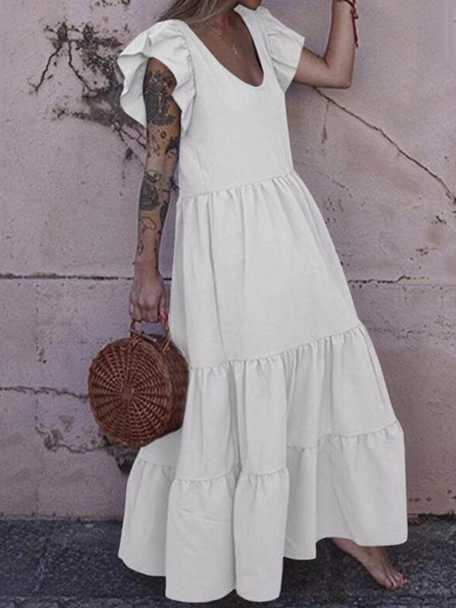 Ericdress Ankle-Length Short Sleeve Patchwork Pullover A-Line Maxi Dress Beach Dresses For Women