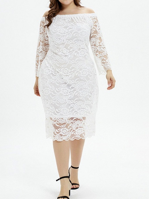 Ericdress Lace Nine Points Sleeve Mid-Calf Bodycon White Dress Plus Size