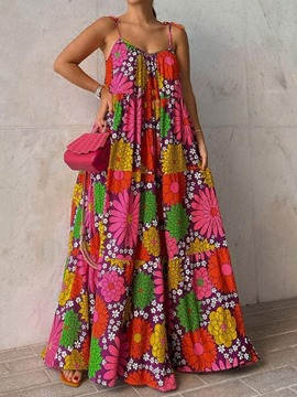 Ericdress Sleeveless Floor-Length Print Expansion Floral Maxi Dress Beach Dresses For Women