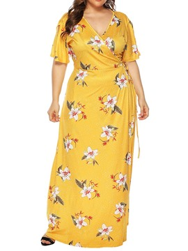 Ericdress Print V-Neck Short Sleeve Casual Pullover Maxi Dress Plus Size