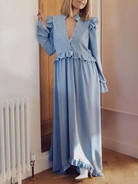 Ericdress Stringy Selvedge Long Sleeve Stand Collar Plain Straight Maxi Dress
