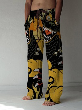 Ericdress Straight Dragon Print Lace-Up Men's Casual Pants
