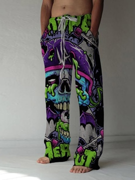 Ericdress Skull Print Straight Lace-Up Men's Casual Pants
