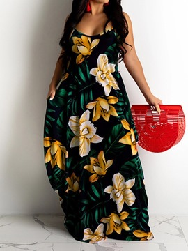 Ericdress Print Floor-Length Sleeveless Sweet Pullover Floral Maxi Dress Beach Dresses For Women