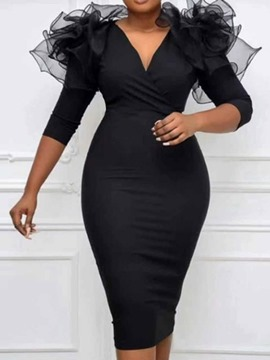 Ericdress V-Neck Mesh Mid-Calf Regular Plain Bodycon Dress