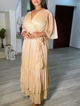 Ericdress Ankle-Length Pleated Three-Quarter Sleeve Maxi Dress