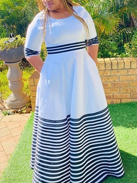 Ericdress Print Half Sleeve Floor-Length Expansion Stripe Dress Plus Size