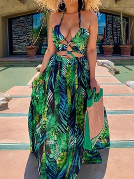 Ericdress Floor-Length Sleeveless Print Travel Look Dress Maxi Dress