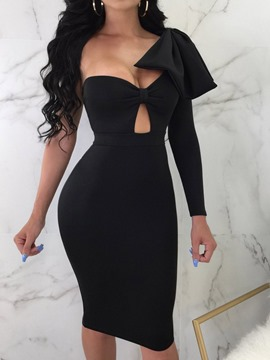 Ericdress Patchwork Long Sleeve Mid-Calf Bodycon Dress