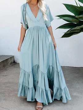 Ericdress V-Neck Floor-Length Half Sleeve Expansion Pullover Maxi Dress Beach Dresses For Women