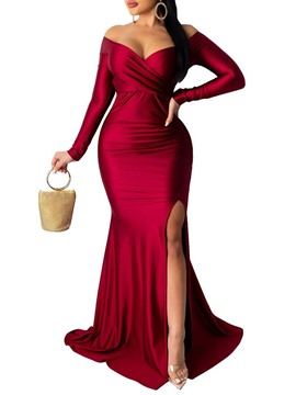Ericdress Long Sleeve Backless Floor-Length Bodycon Maxi Dress