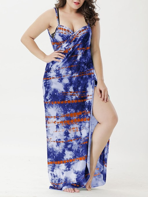 Ericdress Print Sexy Floral Dress Beach Dresses Plus Size