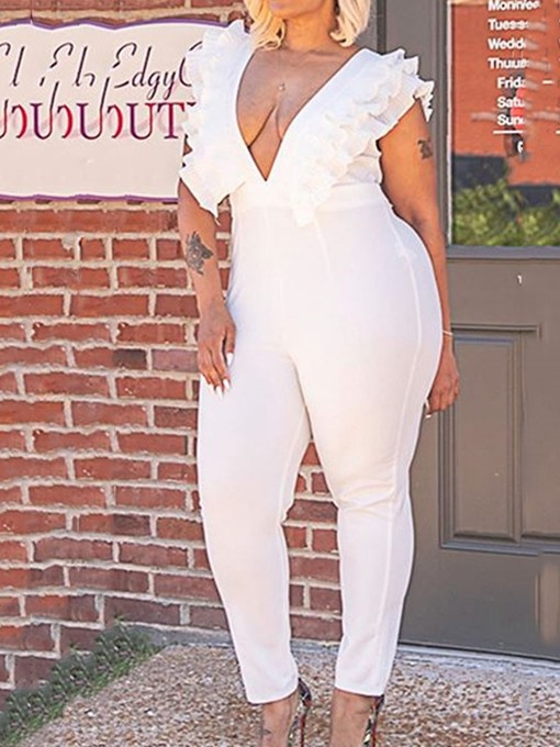Ericdress Office Lady Plain Ankle Length Slim Pencil Pants Women's Jumpsuit Plus Size