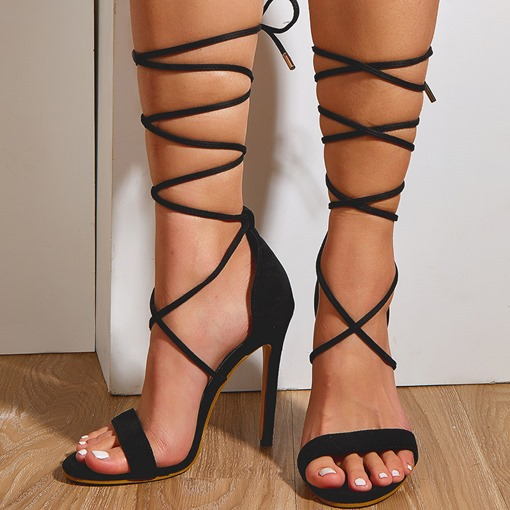 Ericdress Lace-Up Pointed Toe Stiletto Heel Low-Cut Upper Women's Sandals