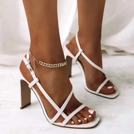 Ericdress Square Toe Chunky Heel Buckle Western Sandals