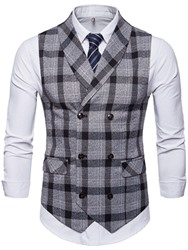 Ericdress coupon: Ericdress Button Plaid Double-Breasted Mens Waistcoat