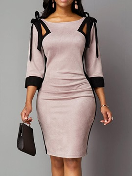 Ericdress Three-Quarter Sleeve Knee-Length Patchwork Mid Waist Regular Bodycon Dress