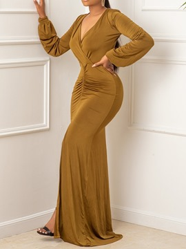 Ericdress Long Sleeve Split Floor-Length Plain Pullover Bodycon Dress