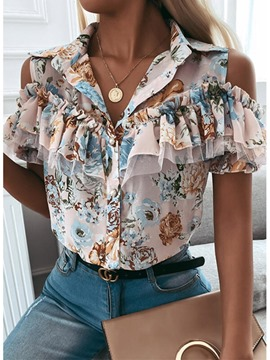 Ericdress Print Floral Lapel Short Sleeve Women's Standard Blouse