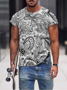 Ericdress Print Round Neck Men's Slim T-shirt