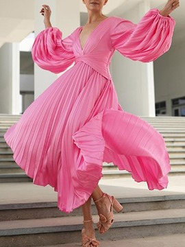 Ericdress Pleated Long Sleeve V-Neck Party/Cocktail Lantern Sleeve Maxi Dress