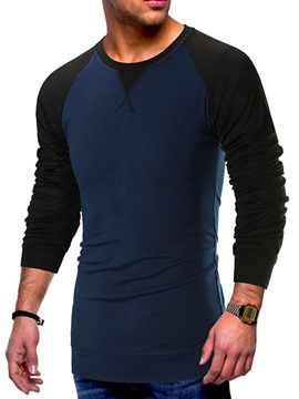 Ericdress Round Neck Casual Color Block Pullover Long Sleeve Men's T-shirt