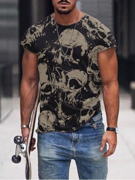 Ericdress Skull Print Round Neck Men's Slim T-shirt