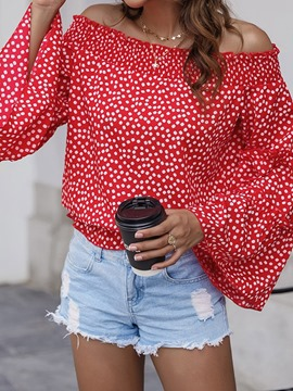 Ericdress Patchwork Polka Dots Flare Sleeve Standard Women's Long Sleeve Blouse