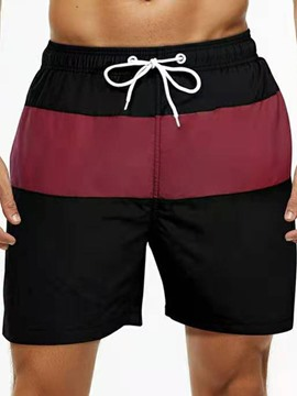 Ericdress Color Block Lace-Up Straight Mid Waist Men's Shorts