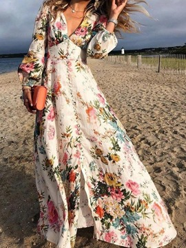Ericdress Floor-Length Long Sleeve Button Expansion Ladylike Floral Maxi Dress Beach Dresses For Women