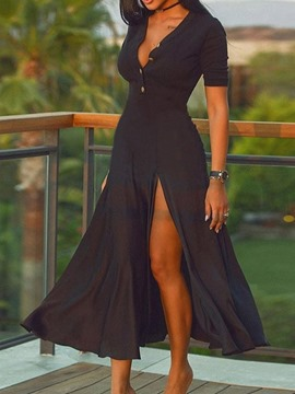 Ericdress Split Short Sleeve Mid-Calf Regular Pullover Black Maxi Dress