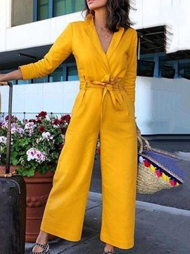 Ericdress Plain Ankle Length Office Lady Straight Women's Slim Jumpsuit