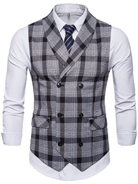 Ericdress Button Plaid Double-Breasted Men's Waistcoat