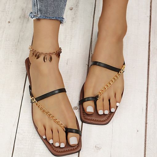 Ericdress Chain Toe Ring Flat With Beach Women's Slippers