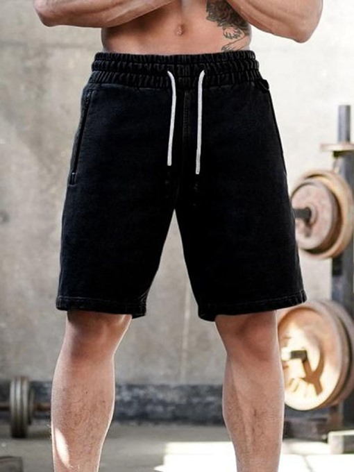 Ericdress Straight Plain Lace-Up Men's Casual Shorts