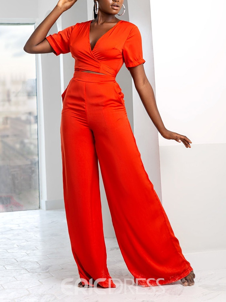 Ericdress Patchwork Fashion Pants V-Neck Bellbottoms Women's Two Piece Sets