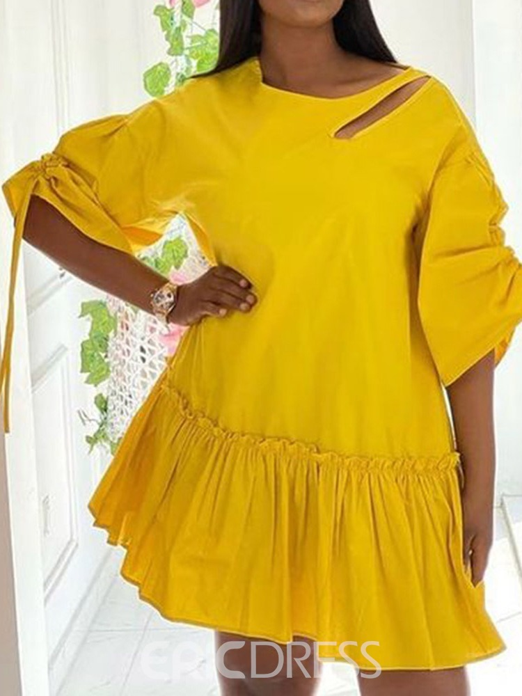 Ericdress Three-Quarter Sleeve Above Knee Pleated Pullover Casual Dress